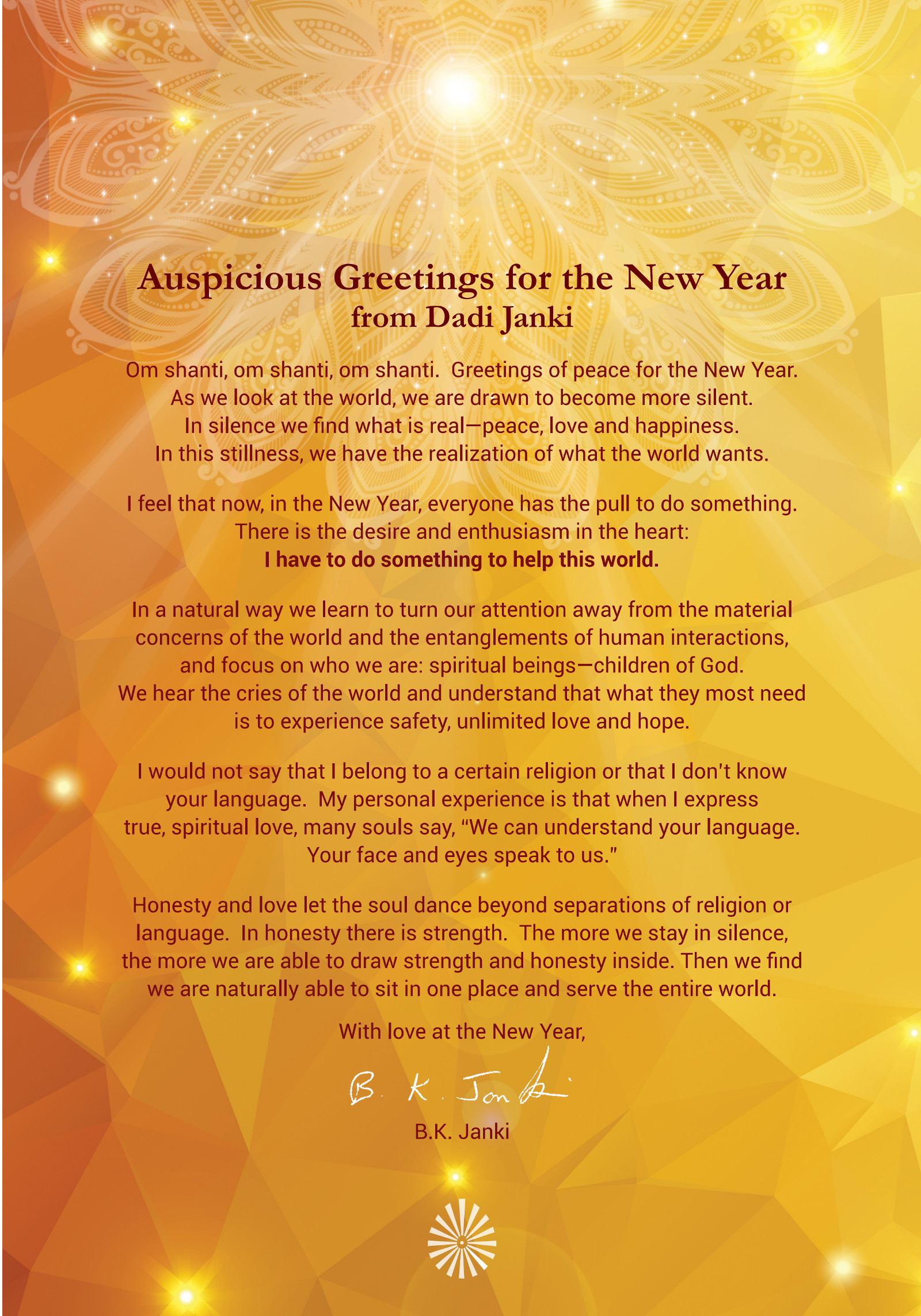 Auspicious Greetings for the New Year